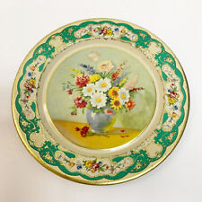"""Vintage Daher Decorated Ware Green Floral Tin 8"""" Plate Made In Holland Gold Trim"""