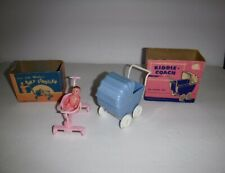 Vtg Plastic Renwal Baby Doll Jeryco Stroller & Kiddie Coach Carriage Dollhouse