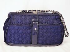 Vera Bradley Handbag Blue Woven Quilted Chain Strap Striped Lining Patent Vinyl