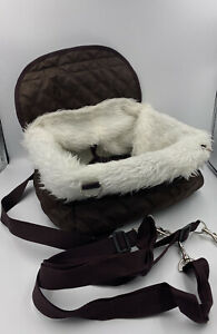 Small Brown Quilted Faux Fur Trim Dog Car Safety Carrier