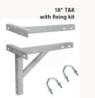 "T & K Wall Bracket 18"" Aerial Radio Satellite mast pole with fixing U bolts"