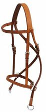ENGLISH OR WESTERN HORSE BROWN LEATHER BITLESS BRIDLE SIDEPULL CROSS UNDER THROA