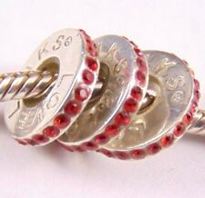 3 X Lovelinks Sterling Silver spacer charms -  with Red Stones Aagaard