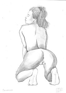 original drawing A3 29HV art samovar Graphite sketch female nude kneeling