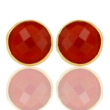 Red Onyx Round Cut Small Stud Earrings Brass Fashion Women's Jewelry