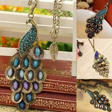 Fashion Bronze Style Peacock Blue&Green Crystal Chain Pendant Necklace UK