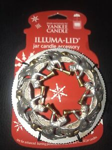 YANKEE CANDLE Silver & Gold ANGELS Christmas ILLUMA-LID Large 22 oz JAR TOPPER