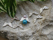 10 Metallperlen Flügel in silber hell, 1,95 cm Schutzengel mit Perlen basteln
