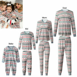 Family Matching Xmas Parent Child Adult Kids Pajamas Nightwear PJs Set