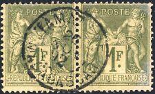 "FRANCE / MADGASCAR 1892 paire Yv.82 1fr Sage t.II obl. "" TAMATAVE / MADAGASCAR """