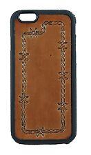 BROWN LEATHER HAND TOOLED WESTERN IPHONE BARBED WIRE PHONE CASE COWBOY COWGIRL
