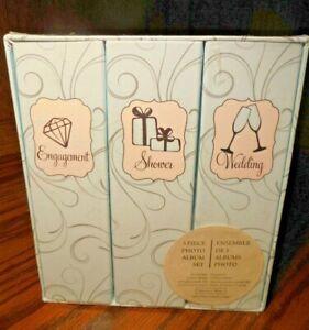 Sheffield Home 3 Pc Photo Album Set Sealed Engagement Shower Wedding Albums  112