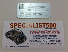Targhetta Dati FIAT 500 epoca L