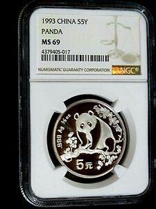CHINA, 1993, Silver Panda, 5Y, NGC MS-69