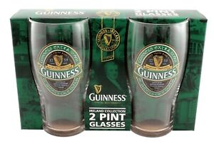 Guinness Ireland Collection Green Logo Pint Glasses pack of 2. Licensed