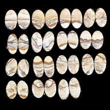 15 PAIRS Natural Picture Jasper USA 22mm-26.5mm Top Quality Cabochon Gemstones