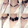 10Pcs/Set Women's Gothic Punk Velvet Tattoo Lace Choker Collar Necklace Cool
