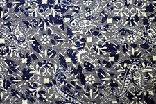 Fabric Blue Paisley Print Sheer Soft Cotton Dress Sewing Material 80cm x 112cm