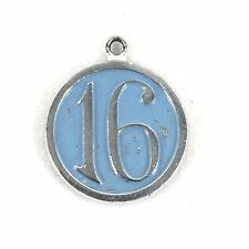 Sterling Silver Sixteen 16 Charm Blue Enamel Signed Wells