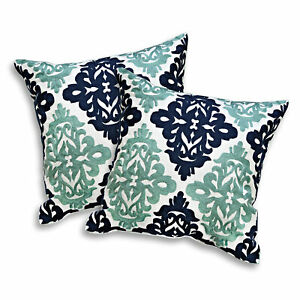 Decorative Damask Pattern Dark Blue-Green Embroidery Pillow Cover Set of 2