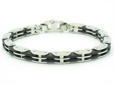 PLATINUM STEEL BLACK RUBBER OPEN LINK DESIGN BRACELET