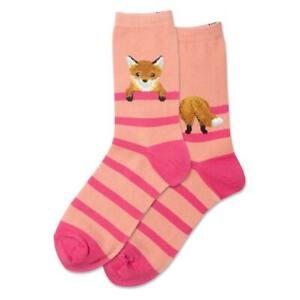 Fuzzy Fox Hot Sox Women's Crew Socks Blush New Colorful Novelty Stripe Fashion