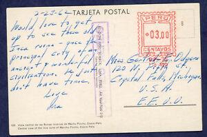 Peru 1962 Air Mail Meter Mail Postcard from Machu Picchu to USA