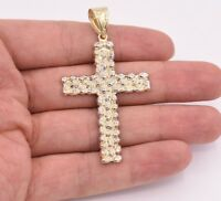 """2 3/4"""" Big Nugget Textured Cross Pendant Charm Real 10K Yellow White Gold"""