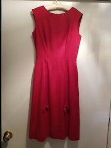 Vintage Anne Fogarty Red Lined Linen Dress Women's size M-L (estimate)