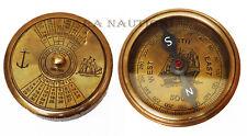 Nautical Compass Anchor  Brass Antique Ship World Timer Marine Calendar Item