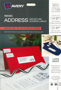 AveryPrintable Address & Return Matt White Labels 128pk (982512)