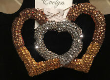 """Paparatzi Tri-Color Crystal Encrusted Bamboo Heart Hoop Earrings 3.5"""" The Metals"""