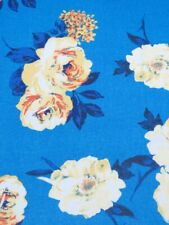 New listing Blue Rose Floral Chiffon Fabric Semi Sheer Apparel Fabric Abstract By the Yard