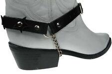 Black Leather Cowboy / Biker Boot Straps Stars - New - Unisex