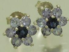 E058- Lovely Genuine 9ct White Gold Natural Tanzanite Sapphire Stud Earrings