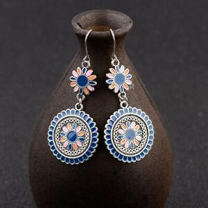 Drop Earrings Vintage Ethnic Dangle Hanging Earrings Enamel Flower Women Jewelry