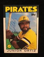 JUNIOR ORTIZ 1986 TOPPS AUTOGRAPHED SIGNED AUTO BASEBALL CARD 682 PIRATES