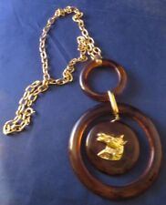 Vintage Faux Tortoise Shell Dangling Gold Tone Horse Necklace
