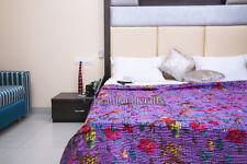 Revesible Blanket Indian Gypsy Kantha Quilt Bird Print Gudari Hippie Bedspread