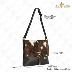 Womens Genuine Italian Leather Buckle effect Crossbody Messenger Boho Handbag