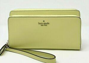 New Kate Spade Payton Leather Large Carryall wallet wristlet Frosty Lime