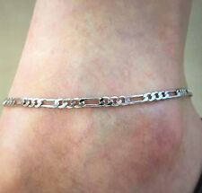 Womens Silver Figaro Chain Ankle Bracelet Anklet