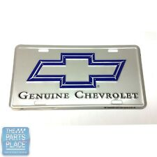 GM Cars License Plate - Silver Back W/ Blue Chevy Bowtie ''Genuine Chevrolet''