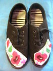 HUNGARIAN HAND EMBROIDERED KALOCSA BLACK LACE-UP CANVAS TENNIS SHOES Size 9