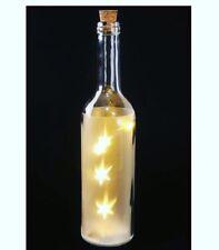 BIANCO LED LUCE COLORATA Bottiglia Con Stelle Decorativa con dettagli in Scatola Regalo