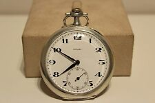 "ART DECO RARE NICE SWISS MEN'S SOLID SILVER 800 OPEN FACE POCKET WATCH ""ETERNA"""