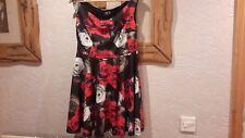 Asos Black Red White Floral Rose Dress Size 12