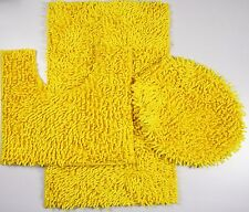 3Piece Mixed Shiny Chenille Bath Mats Set Made with super soft Microfiber