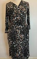 Ladies Laura Ashley Pink Khaki Black Animal Print Wrap Tie Dress Size 16 Stretch
