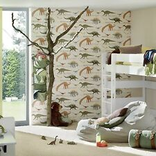 DINOSAURS NATURAL WALLPAPER ROLLS NEW (93633-10) A.S.CREATION DECOR
